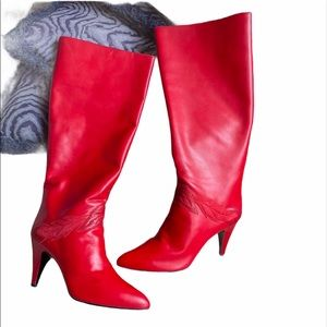 Vintage Gloria Vanderbilt Red Leather Calf boots